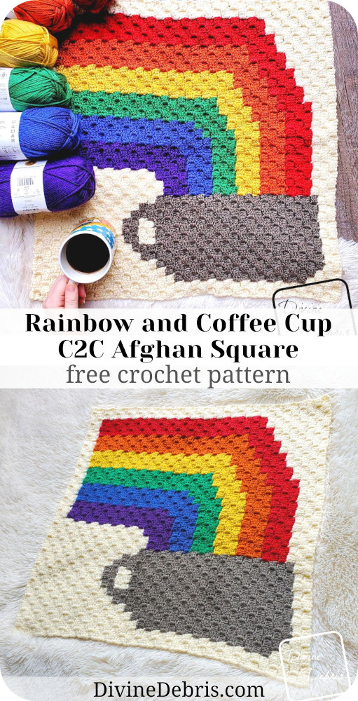 Learn to make June's Rainbow and Coffee Cup C2C Afghan Square from a free crochet graph pattern on DivineDebris.com and check out the year-long CAL.