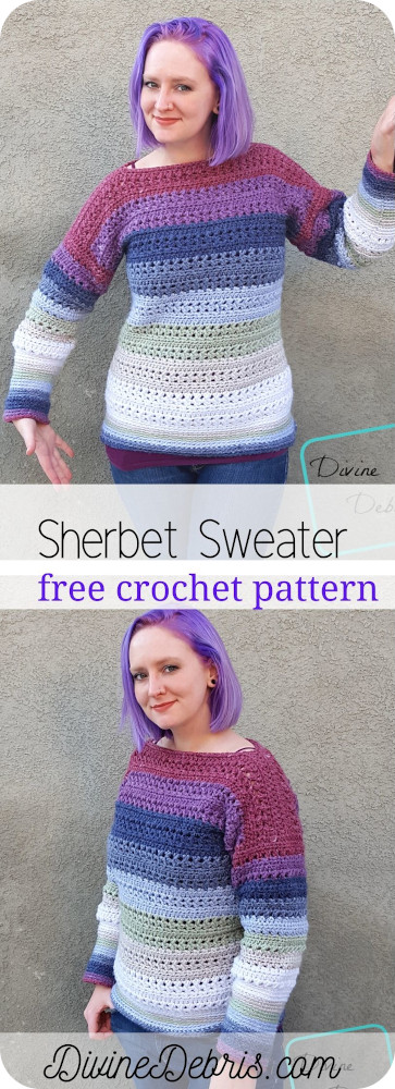Learn to make a fun and easily customizable sweater, the Sherbet Sweater from a free crochet pattern available on DivineDebris.com
