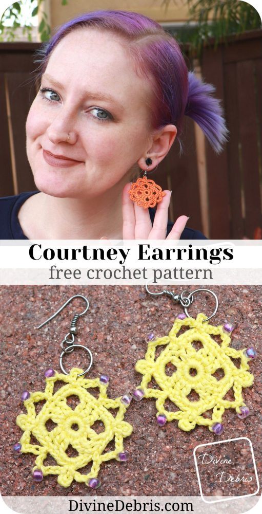 Learn to make the Courtney Earrings, a fun, easy, and super customizable, from a free crochet pattern on DivineDebris.com