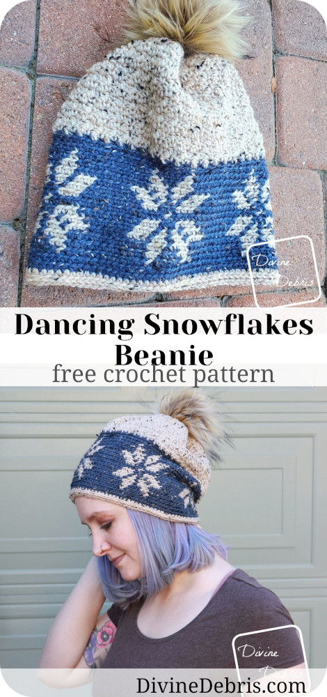 Learn how to make the Dancing Snowflakes Beanie, a mixture of tapestry and textured crochet, from a free crochet pattern by Divine Debris