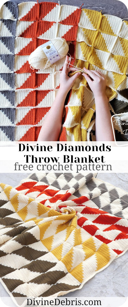 Learn to make this fall favorite quilt-inspired and eye-catching tapestry crochet throw blanket, The Divine Diamonds Throw Blanket, from a free pattern on DivineDebris.com