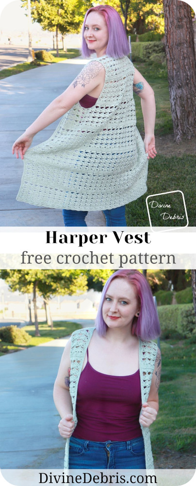 Dress up a simple tshirt or tank top and jeans with a fun and open vest design, the Harper Vest, from a free crochet pattern on DivineDebris.com