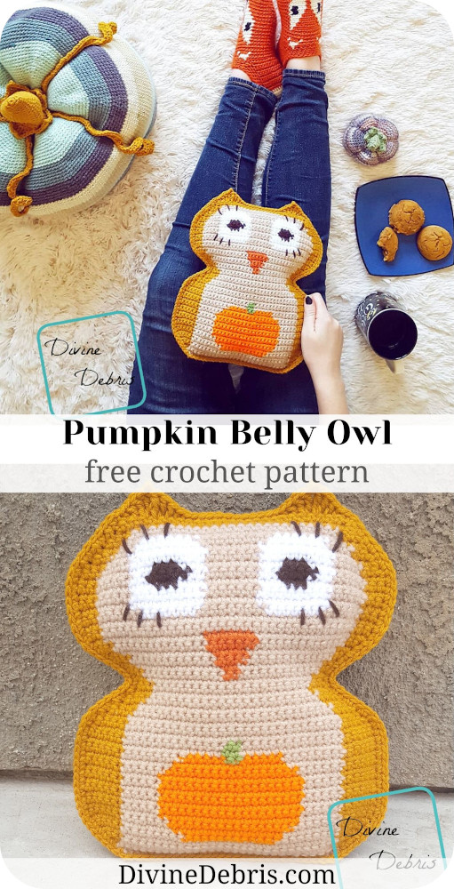 Learn to make the Pumpkin Belly Owl Amigurumi, a fun little creature perfect for Halloween, from free crochet pattern by DivineDebris.com