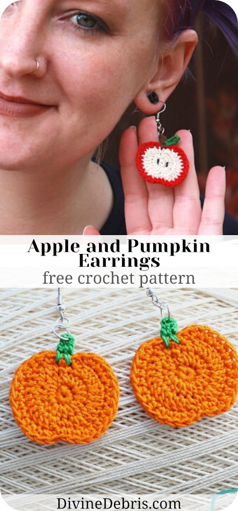 Learn to make the fun Fall Pumpkin/ Apple Earrings free crochet pattern by DivineDebris.com
