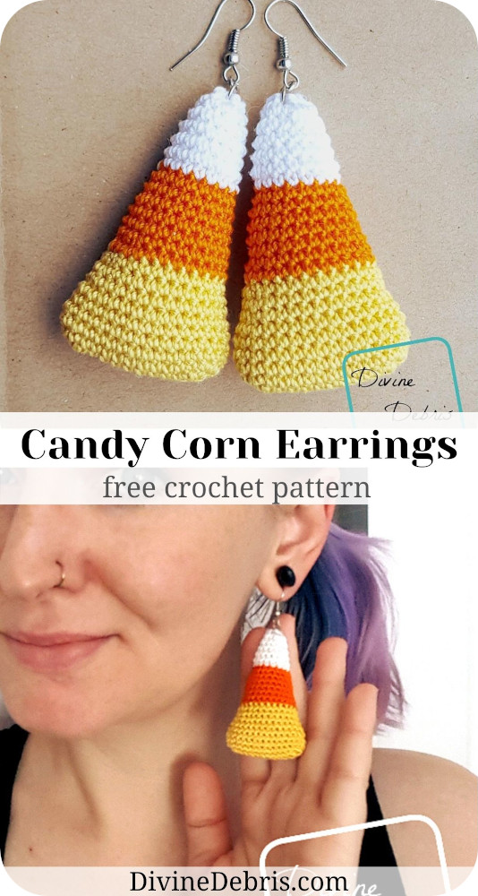 Make the highly recognizable and sure cute Candy Corn Earrings from a free crochet pattern on DivineDebris.com