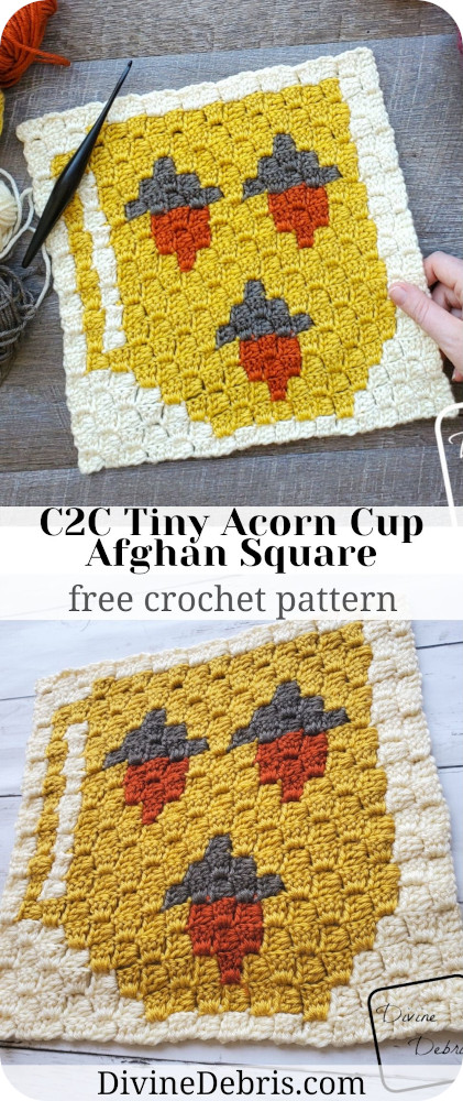 Learn to make the C2C Tiny Acorn Cup Afghan Square from a free graph on DivineDebris.com. Part of a year-long coffee CAL.