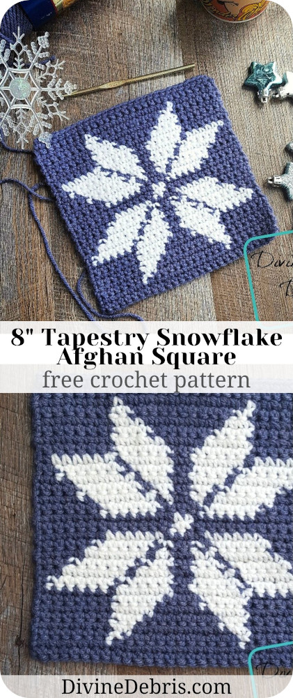 "Learn to make the 8"" Tapestry Snowflake Afghan Square from a free crochet pattern and afghan square CAL on DivineDebris.com"