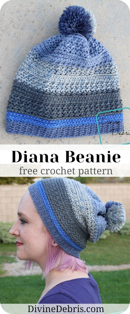 Make a simple and quick crochet hat that will work great for you from fall into those colder winter months with the Diana Beanie free crochet pattern