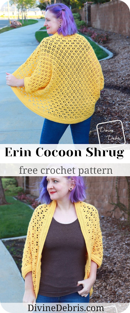 Learn to make the Erin Cocoon Shrug, an oversize and cozy cocoon shrug in sizes XS - 5X, from a free crochet pattern by DivineDebris.com