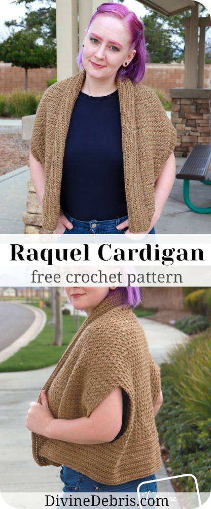 Learn to make the Raquel Cardigan, a fun and interesting take on cardigans, from a free crochet pattern on DivineDebris.com