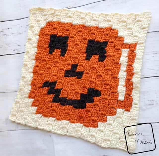 C2C Jack-O-Lantern Cup Afghan Square free crochet pattern by DivineDebris.com