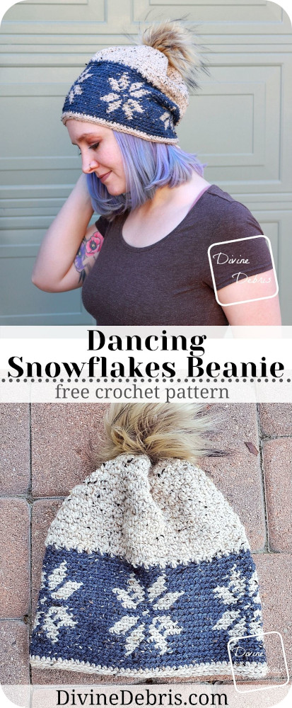 Learn how to make the Dancing Snowflakes Beanie, a mixture of tapestry and textured crochet, from a free crochet pattern by DivineDebris.com