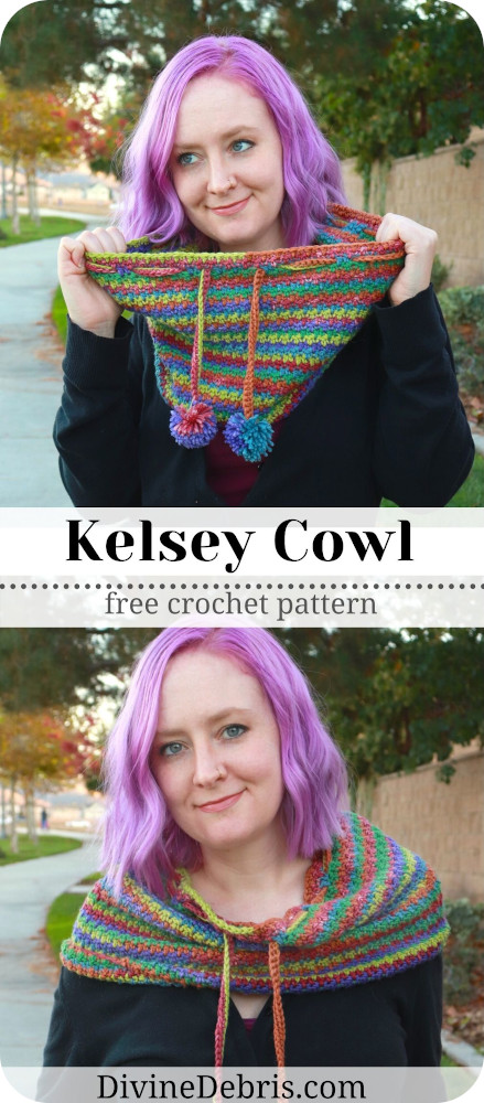Learn to make the very customizable, fun, snuggly, and textured Kelsey Cowl from a free crochet pattern on DivineDebris.com