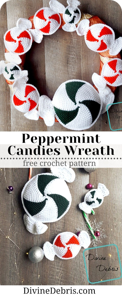 Make a fun and customizable holiday wreath that works all through the winter season, the Peppermint Candies Wreath crochet pattern a free crochet pattern by DivineDebris.com