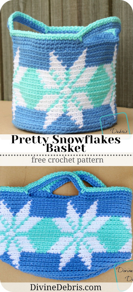 Dress up your holiday decorating with this fun and cute tapestry design, the Pretty Snowflakes Basket Free Crochet pattern by DivineDebris.com