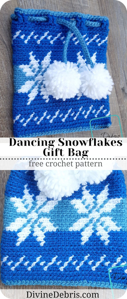 Learn how to make the fun and easy Dancing Snowflakes Drawstring Gift Bag from a free crochet pattern on DivineDebris.com