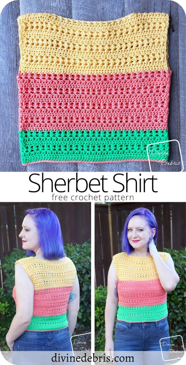 Learn to make the fun and easy Sherbet Shirt from a free crochet pattern on DivineDebris.com