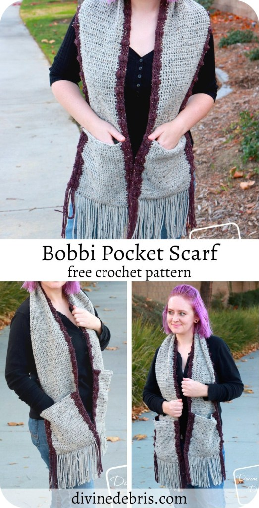 Fun with pockets! The Bobbi Pocket Scarf is fun, quick, and free crochet pattern that will work up easily and is easily customized. Find it on DivineDebris.com