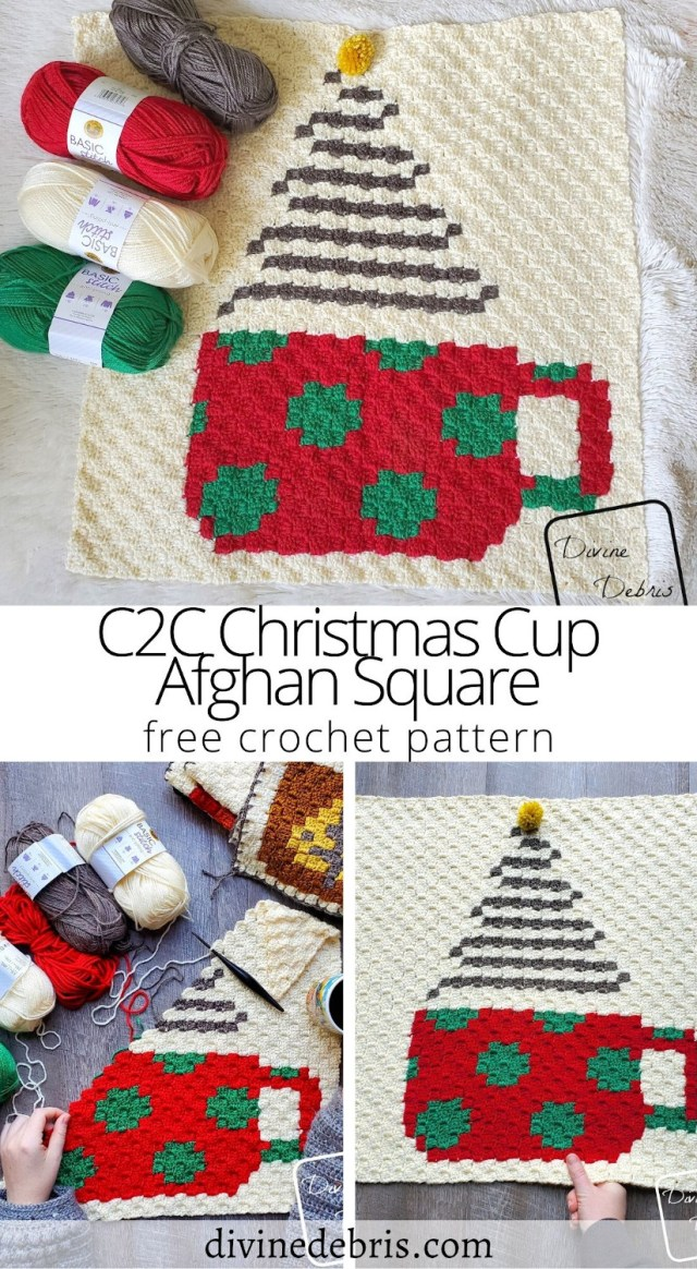 Learn to make the final coffee square in 2020's CAL, the C2C Christmas Cup Afghan Square free crochet pattern by DivineDebris.com