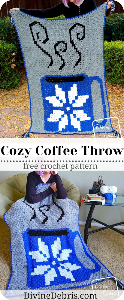 Check out the fun and easy Cozy Coffee Throw crochet pattern graph on DivineDebris.com. It's a simple C2C design for any coffee loving crafter