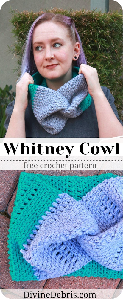 Learn how to make the Whitney Cowl, a design that combines the linen stitch, a simple puff stitch, and finished with a twist, from a free crochet pattern.