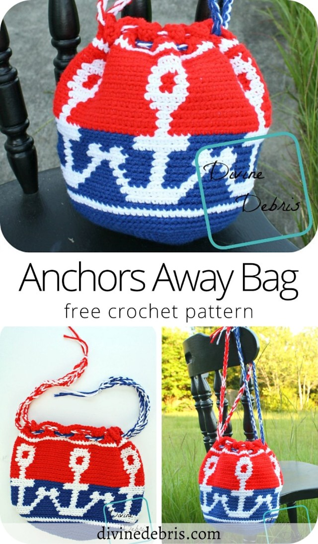 Check out the fun and nautical themed drawstring bag, the Anchors Away Bag, a free crochet pattern on DivineDebris.com