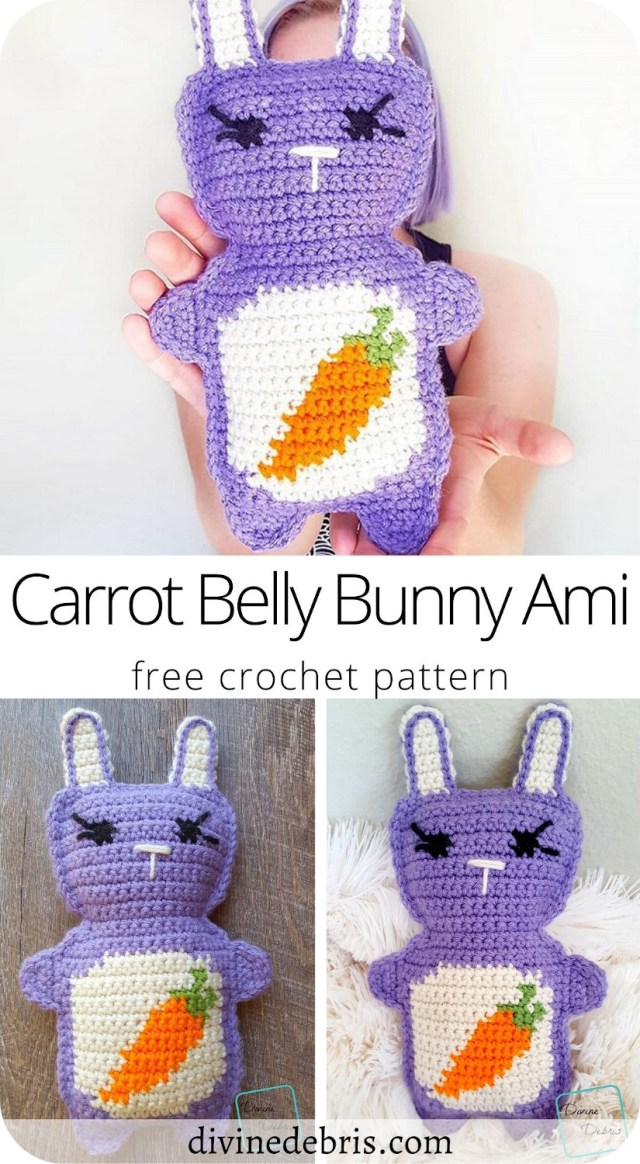 Make Easter super fun by learning to make the Carrot Belly Bunny Amigurumi from a free crochet pattern on DivineDebris.com