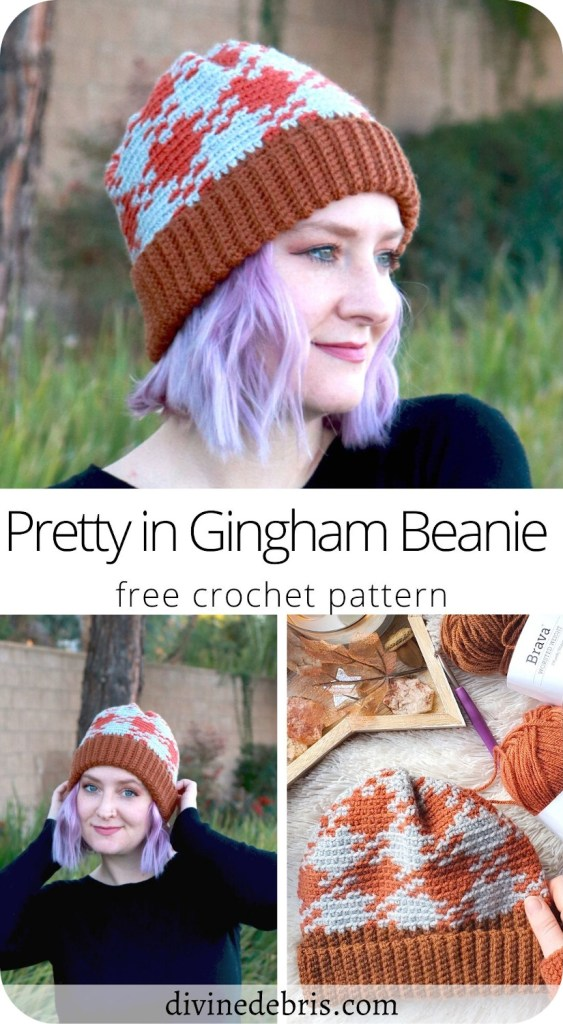Check out the eye-catching, fun, and customizable tapestry design, the Pretty in Gingham Beanie free crochet pattern by DivineDebris.com