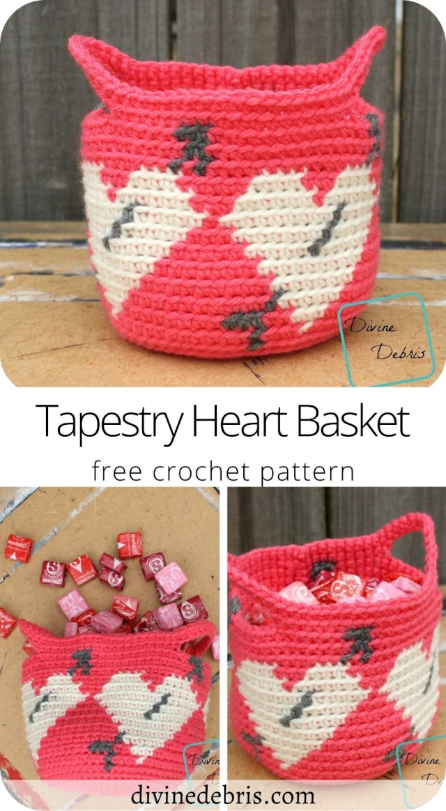 Learn how to make the Tapestry Heart Basket from a free crochet pattern on DivineDebris.com. Perfect for Valentine's day!