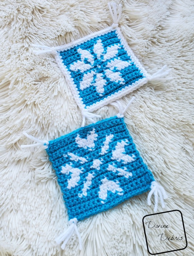 Learn to make the Cute Snowflakes Coaster Set, a fun and creative tapestry crochet free pattern coaster duo from DivineDebris.com
