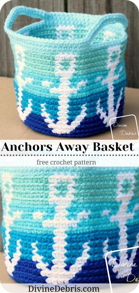 Make a wonderful tapestry crochet anchor themed basket design, the Anchors Away Basket, from a free crochet pattern on Divine Debris.com