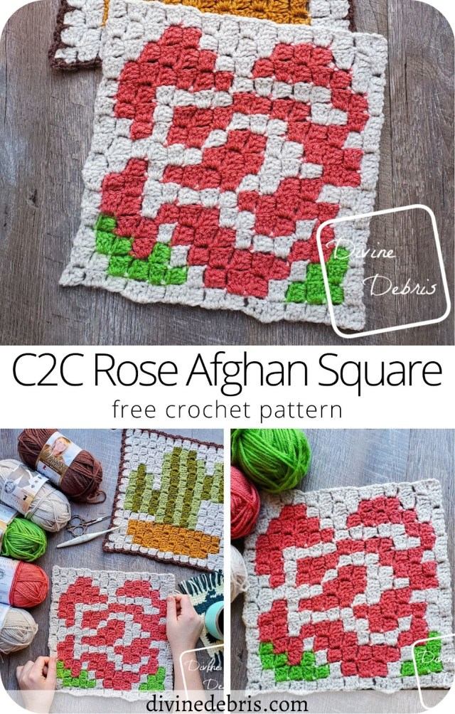 Learn to make the brand new C2C Rose Afghan Square, the second in the 2021 Plants and Flowers C2C Square CAL by Divine Debris