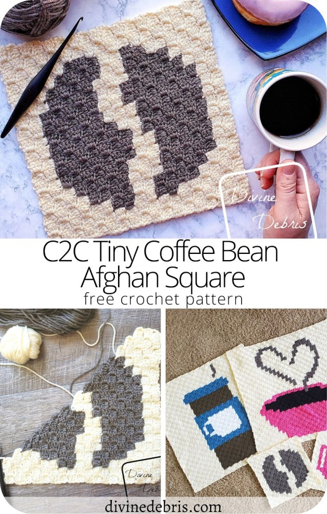 Learn to make the Tiny Coffee Bean C2C Afghan Square, and discover the 2020 C2C Coffee CAL, from a free pattern on DivineDebris.com
