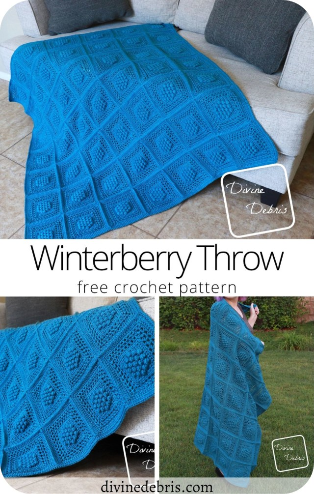 Learn to make the Winterberry Throw, a textured and fun blanket, from a free and easy crochet pattern by DivineDebris.com