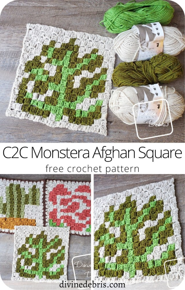 Learn to make the C2C Monstera Afghan Square free crochet pattern, the 3rd square in the year-long C2C CAL by DivineDebris.com