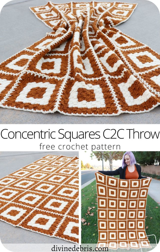 Learn to make the fun and eye-catching Concentric Squares Throw blanket from a free C2C crochet pattern on DivineDebris.com
