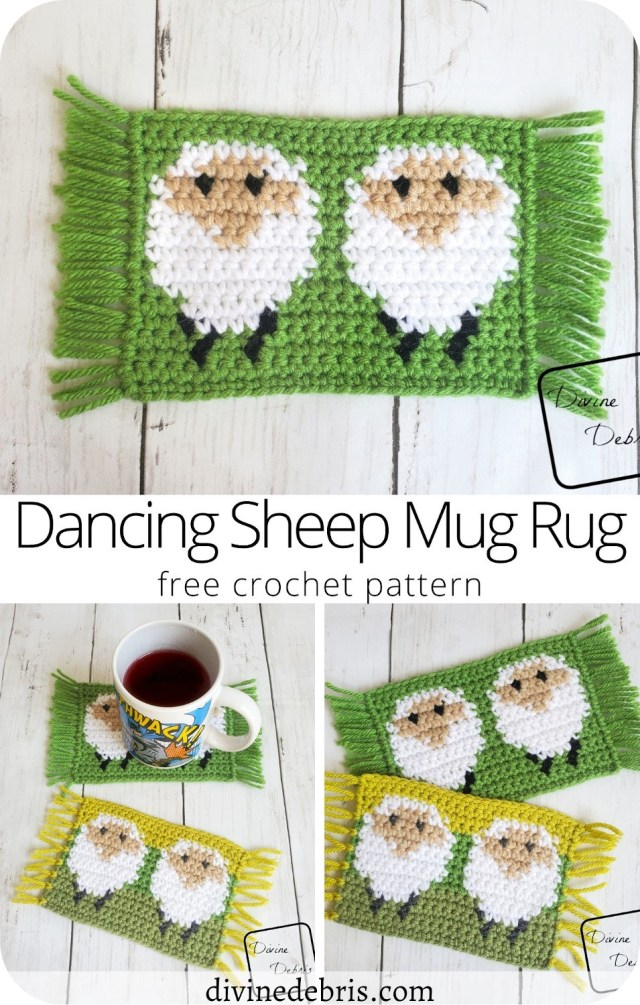 Learn to make the Dancing Sheep Mug Rug, a fun tapestry crochet home decor piece, from a free crochet pattern on DivineDebris.com
