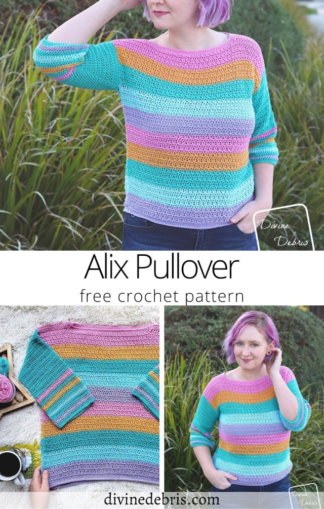 Be ready for those warmer weather months with this fun, easy, and light weight transition sweater, the Alix Pullover, from a free crochet pattern