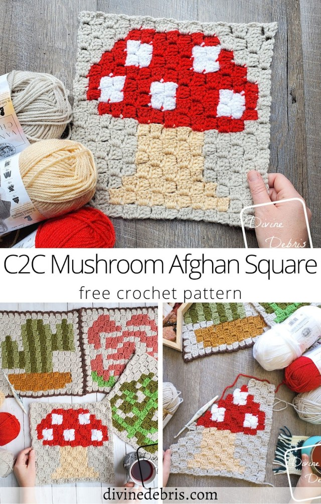 Learn to make the brand new C2C Mushroom Afghan Square, the fourth in the 2021 Plants C2C Square CAL by Divine Debris