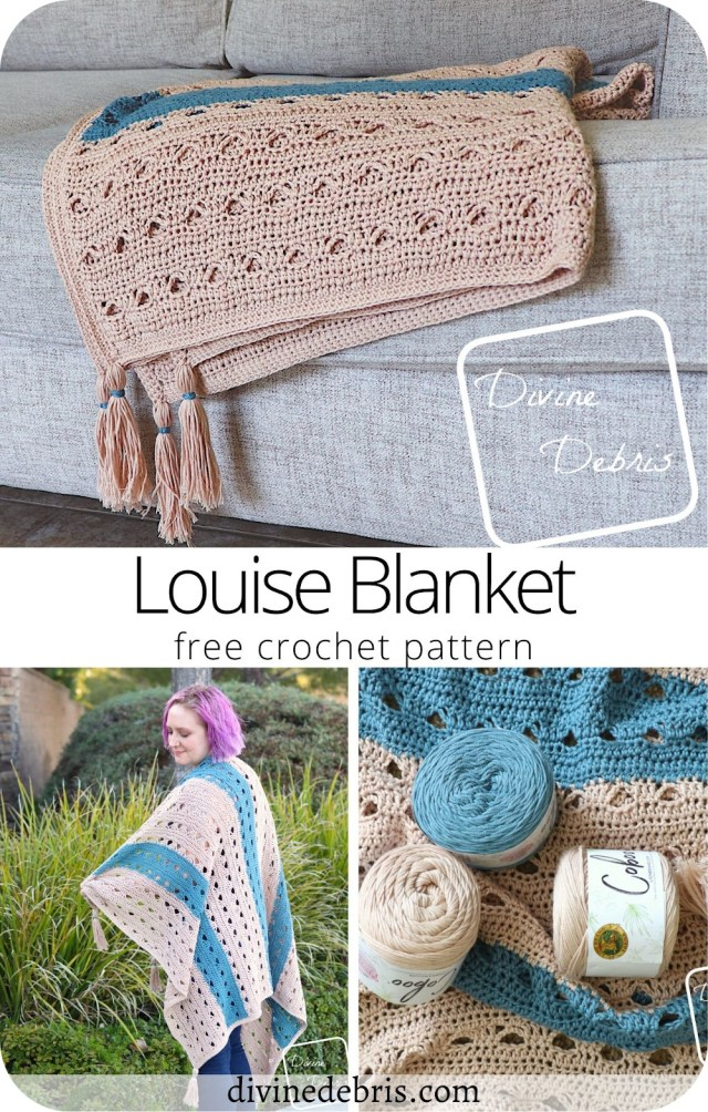 Learn to make the fun, easy, and light free Louise Blanket crochet pattern, a perfect blanket for Spring, on DivineDebris.com