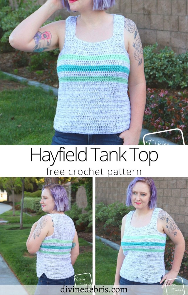 Learn to make the fun, customizable, and cute crochet tank top, the Hayfield Tank Top free crochet pattern by DivineDebris.com