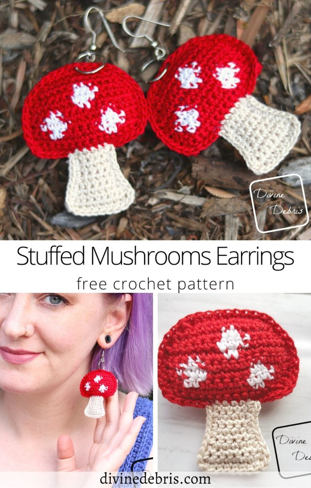 Learn to make the fun, easy, and whimsical free Stuffed Crust Mushrooms Earrings crochet pattern on DivineDebris.com