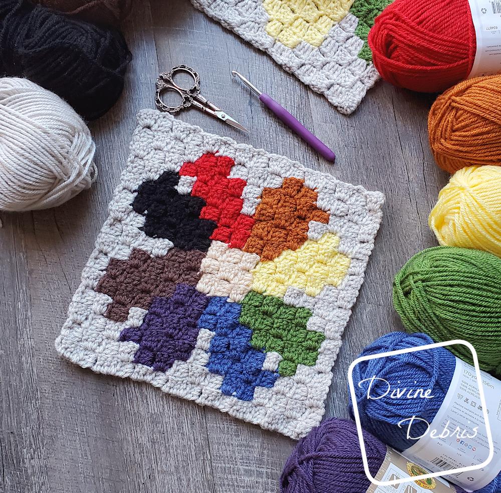 Plant C2C CAL – C2C Daisy Afghan Square Free Crochet Pattern