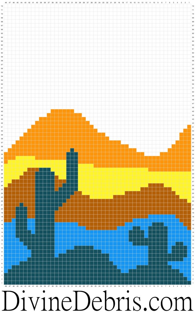 Cool Cactus Wall-Hanging crochet pattern graph by DivineDebris.com