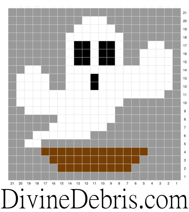 Halloween Cactus Coasters Crochet patterns: Ghost Cactus graph.