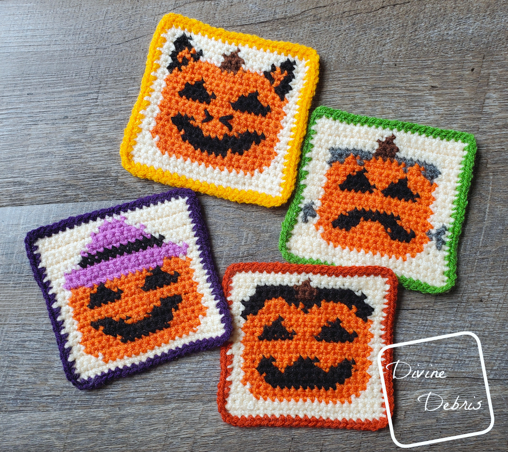 Celebrate October with the Free Halloween Pumpkin Coasters crochet patterns