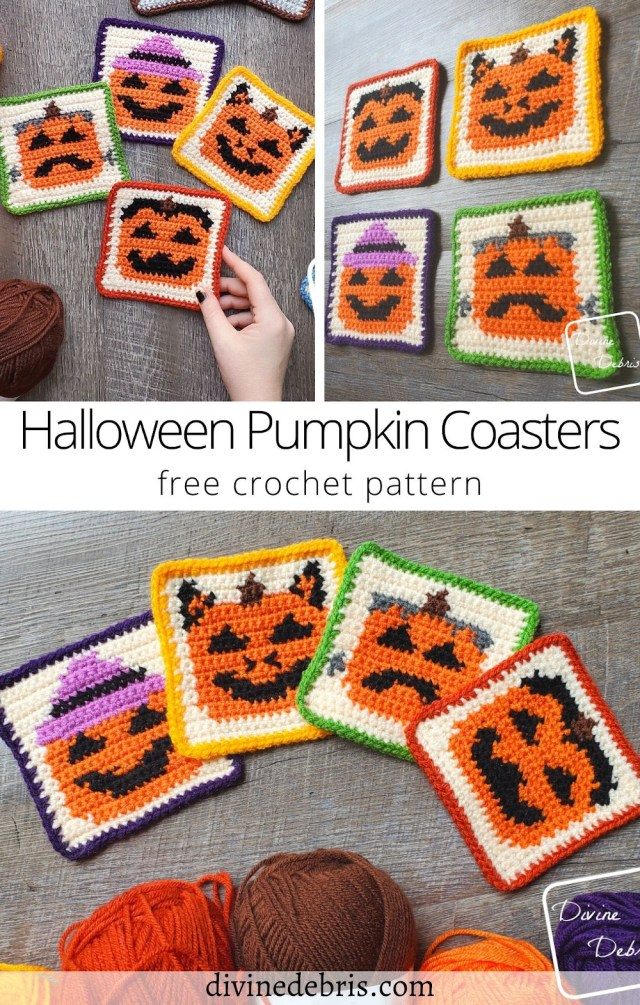 Learn to make the fun and cute October themed patterns, the four Halloween Pumpkin Coasters, from a free crochet pattern on DivineDebris.com
