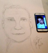 Drawing and photo of brother in spirit