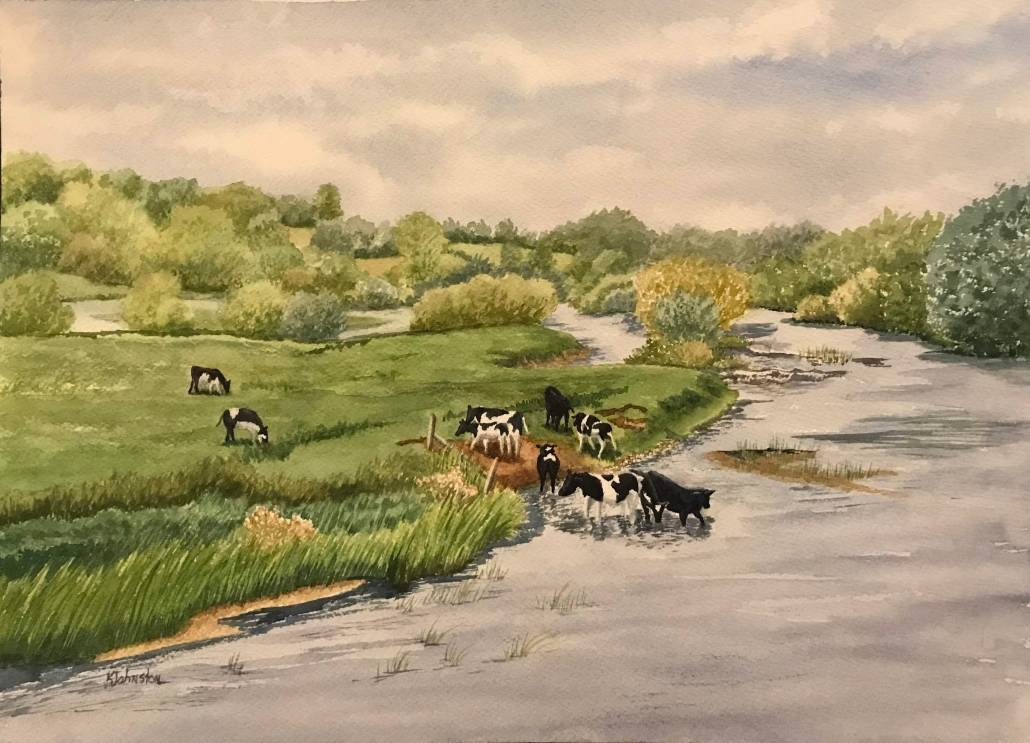 Watercolor of Bru na Boinne with cows