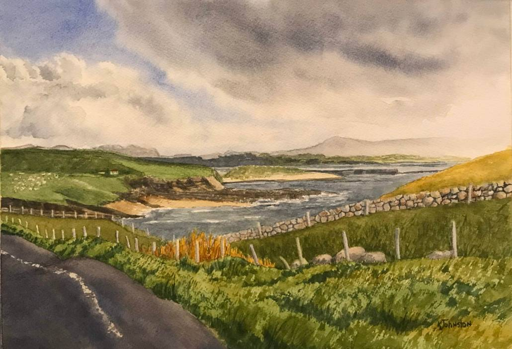 watercolor of Mullaghmore inlet in Ireland